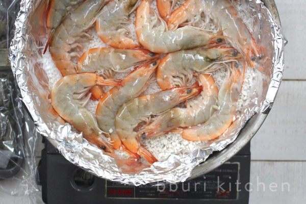 Salt-roasted daeha (대하, Korean prawns)