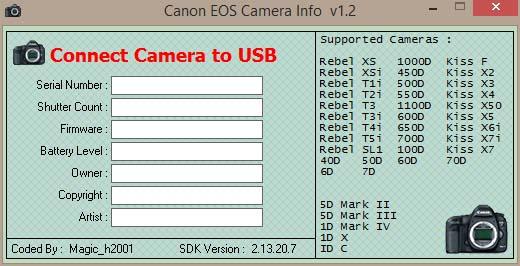 neue Modelle wie die EOS 7D Mark 2 werden nicht erkannt.