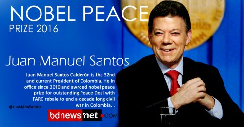 Nobel peace prize winner Juan Manuel Santos – President of Colombia