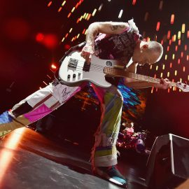 NEW YORK, NY - FEBRUARY 15: Bass player Flea of Red Hot Chili Peppers performs at Madison Square Garden on February 15, 2017 in New York City.   Mike Coppola/Getty Images/AFP