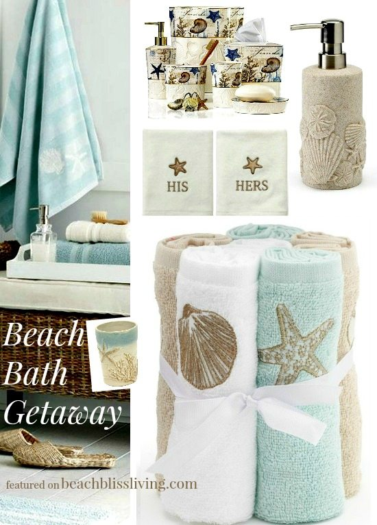 To Play Off On The Water Theme These Beach Bath Accessories And Bath