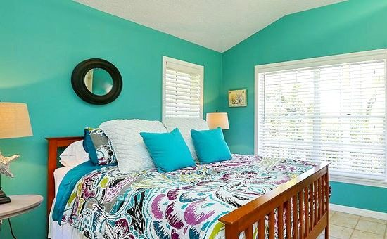Beach Cottage With Bright Blue Yellow Lime Green