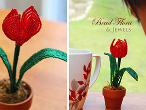 French beaded mini tulip