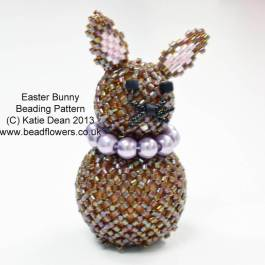 Easter Bunny Pattern, Easter bunny beading kit, Katie Dean, Beadflowers