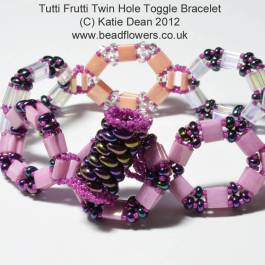 Tutti Frutti Twin Hole Toggle Bracelet Pattern, Katie Dean, Beadflowers