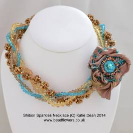 shibori silk sparkles necklace