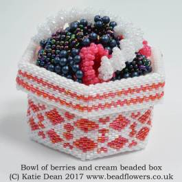 Berries and Cream Bowl Beaded Box Pattern, Katie Dean, Beadflowers