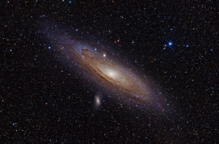 The Andromeda Galaxy is the largest galaxy of the Local Group which consists of about 45 other galaxies including our Milky Way.