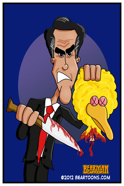 Romney Cuts off Head of Big Bird by Bearman Cartoons