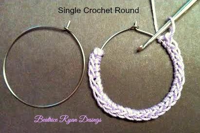 Simple Summertime Crochet Earrings SC round