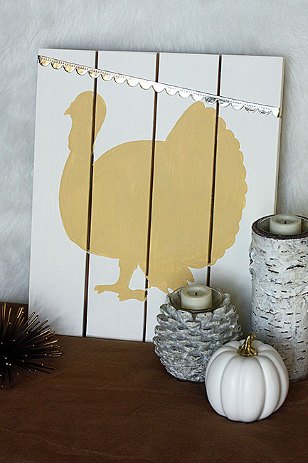 Neutral Turkey Pallet Sign - Curly Crafty Mom Guest Post