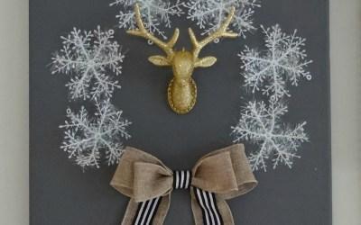 Winter Holiday Canvas Wreath DIY