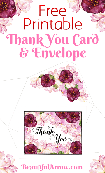 Beautiful Free Printable Burgundy and Pink Floral Thank You Card With Envelope!