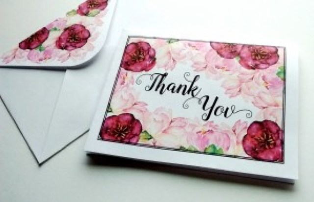 Beautiful Burgundy and Pink Floral Thank You Card and Envelope Free Printables!