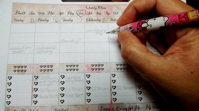 Free Printable! Shabby Chic Weekly Planner Page