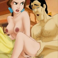 Gaston was pumping his thick large and masculine cock deep inside Belle's hairy french pussy when he realized he couldn't hold it back anymore. He squirted his hot cum in Belles belly.