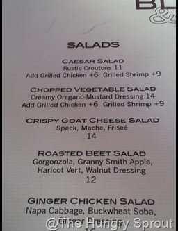 BLT Bar and Grill menu