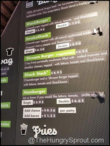 Shake Shack burger menu