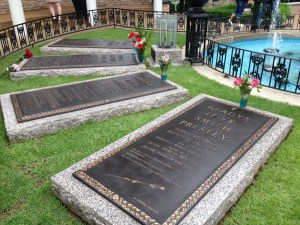 Grave sites of Elvis Presley, his mother, and grandparents, located in the Meditation Garden.