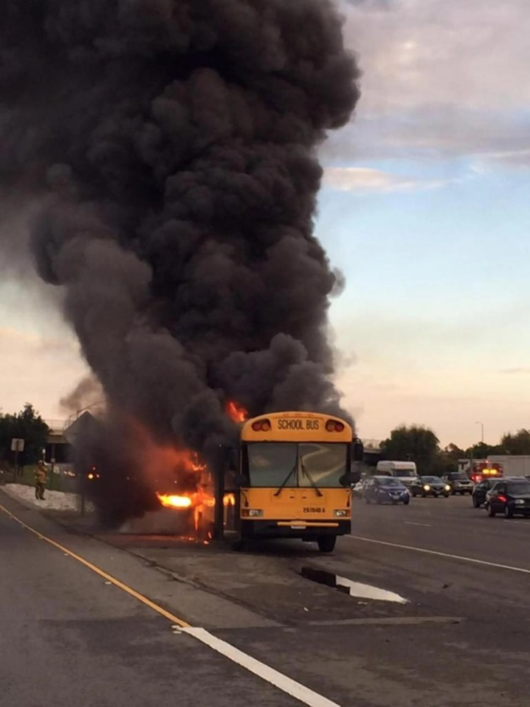 The school bus that caught on fire