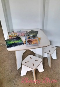 Modern Kids Table and Stools with books