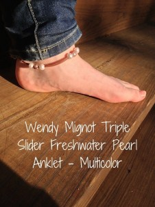 Wendy Mignot Triple Slider Freshwater Pearl Anklet - Multicolor