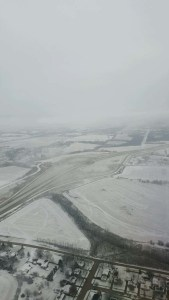 Snow in Iowa while landing