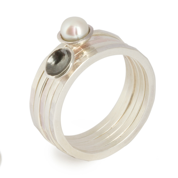 Flotsam Stacking Rings – White Pearl x5