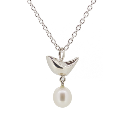 Riverside Bird and White Pearl Pendant