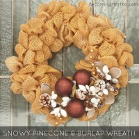 Winter Wreath from Bubbled Burlap and Snowy Pinecones