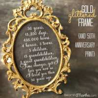 Gold and Glittered Frame and Print - 50th Anniversary Party