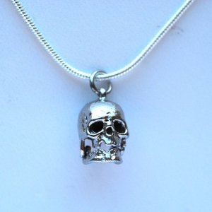 sterling silver, silver necklace, halloween, halloween skulls, skull necklace, goth jewelry, vintage gothic accessories, vintage charms