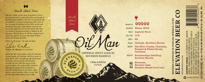 Elevation Oil Man beer label