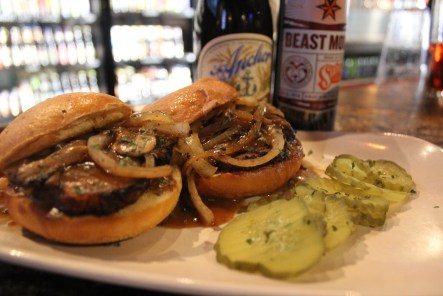 Dogfish Head Meatloaf Sliders, on brioche.