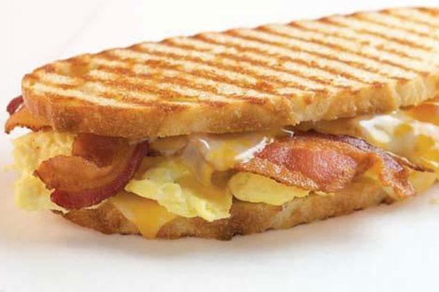 Breakfast Panini - Bacon, Egg, Cheddar on a Grilled Telara Roll