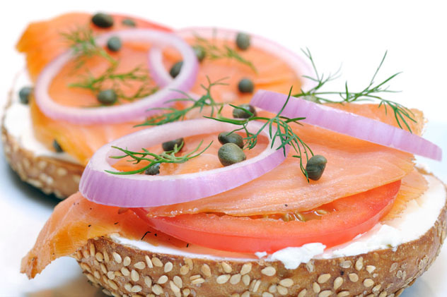 Bagel & Lox - Cream Cheese, Capers, Red Onion, Dill Weed, Glutten-Free Sesame Bagel