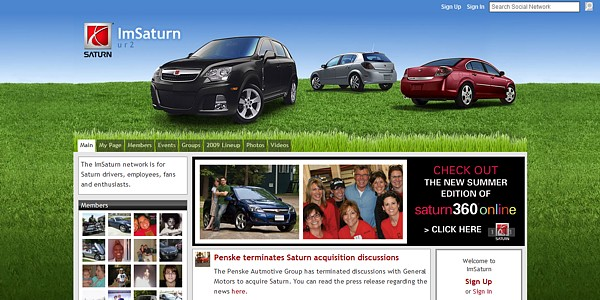 "(above) The ""ImSaturn Network"" community Web site - Everything looks different... except the cars... and the ending..."