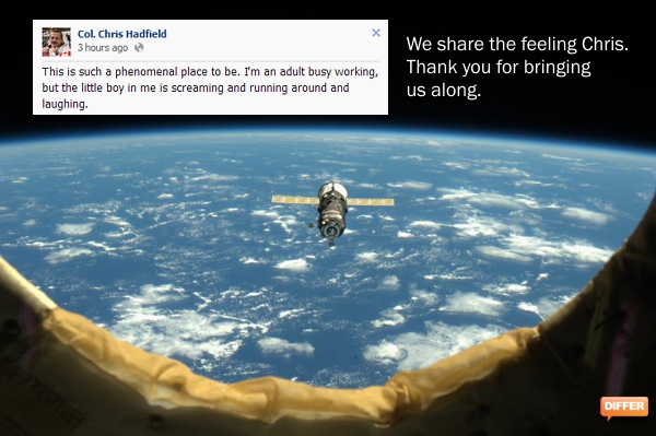 The quote and the photo are from Canadian Astronaut Col. Chris Hadfield's magnificent Facebook stream.