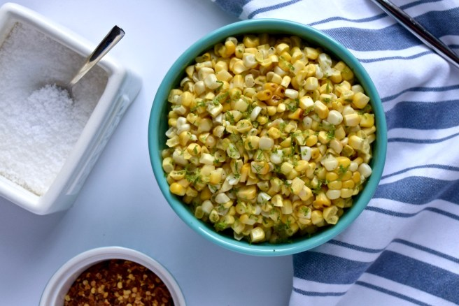 Corn Salad | This easy corn salad recipe has just three simple ingredients (not including s&p!). It's fresh and sweet and smoky and delicious. And you should definitely try it. It's a perfect summer side dish to build upon!