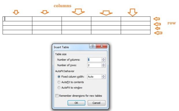 menentukan jumlah baris dan kolom