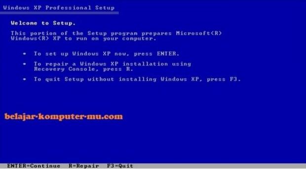 gambar jendela setup tahap konfirmasi instalasi windows xp