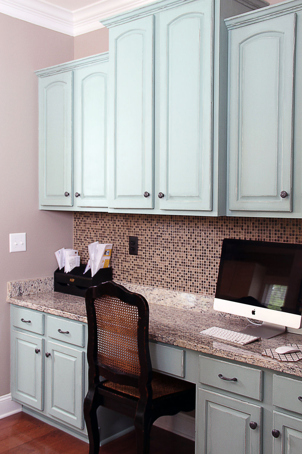 duck egg blue and old white painted kitchen cabinets blue cabinets kitchen Blue desk by Bella Tucker Decorative Finishes