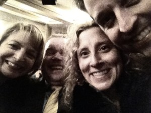 Group selfie at The Glass Menagerie on Broadway with the best NYC traveling companions, Kim and Tim.