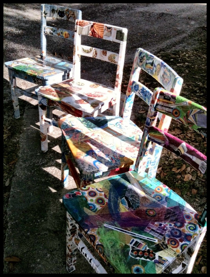 Recycled wooden chairs collaged by Catherine Cross Tsintzos and fourth graders at Brookshire Elementary School for the silent auction at the school's fundraiser.
