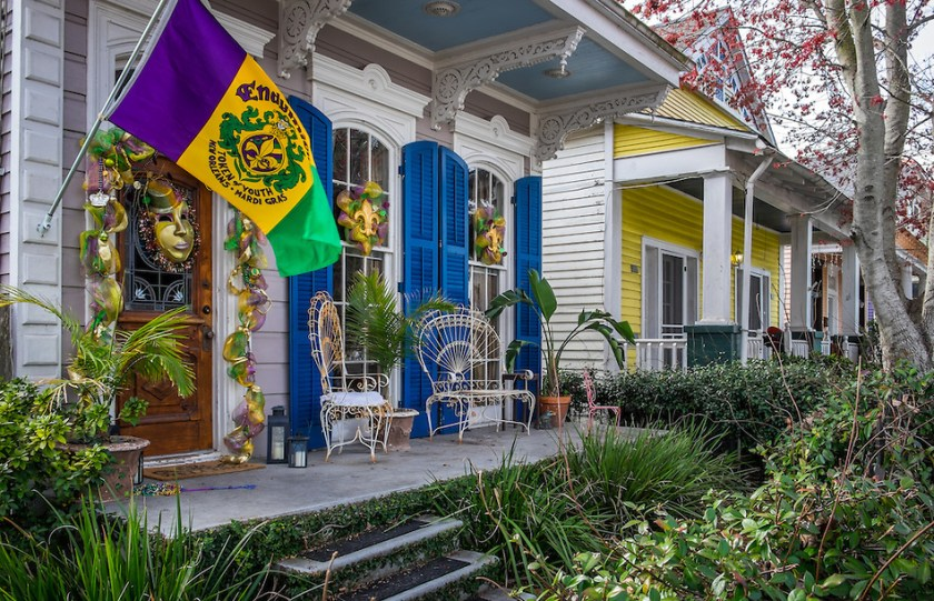 NEW ORLEANS - CIRCA FEBRUARY 2014: View of a typical house decorated with Mardi Gras accessories in Algiers Point, a popular community within the city of New Orleans in Louisiana. danielkorzeniewskiphoto.com