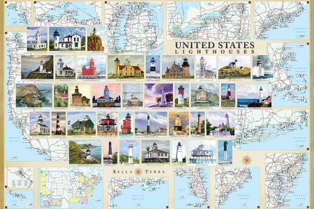 united states lighthouses illustrated map & guide | bella