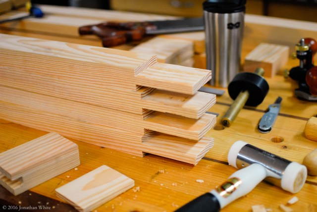 Tenons / bridal joints cut into the long members of the front frames.
