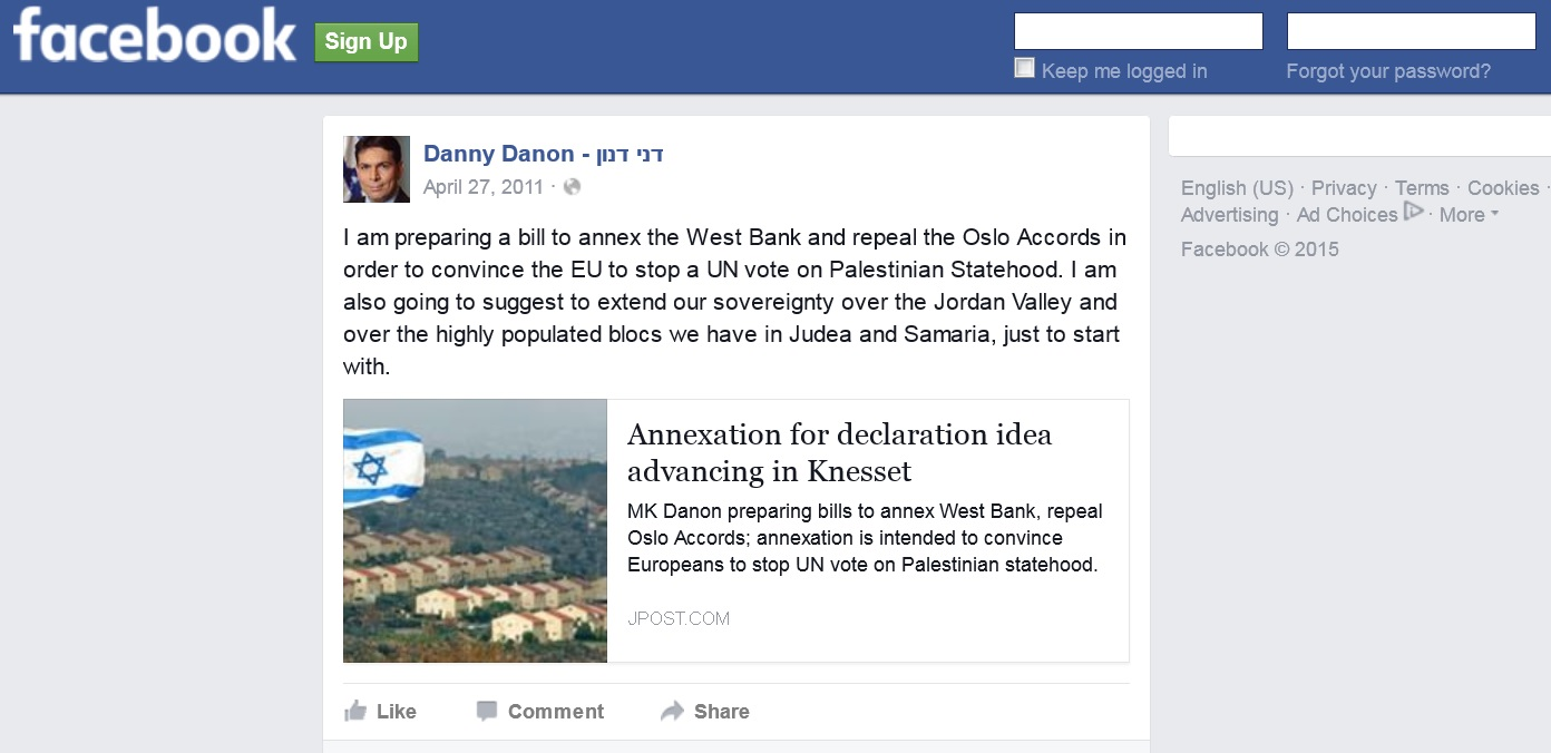 Israel's UN Amb. Called for Annexing West Bank, Tries to Delete Evidence