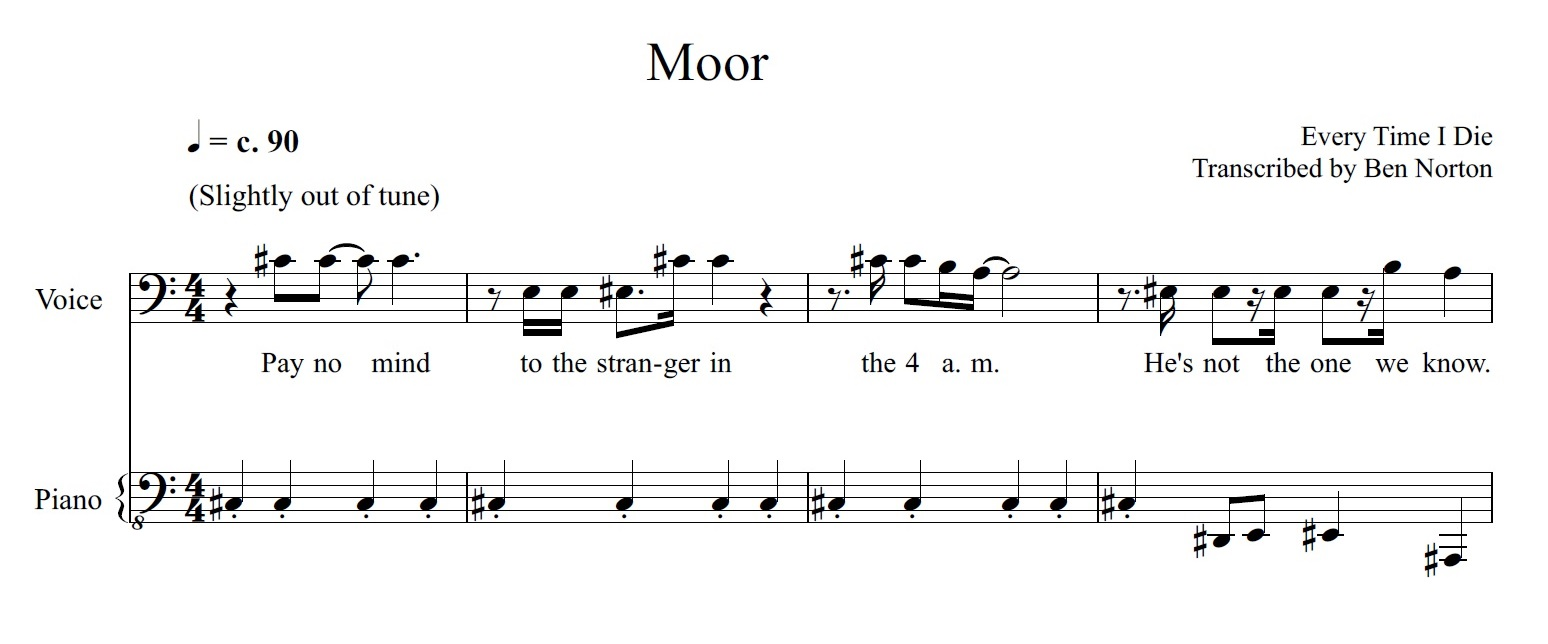 """Transcription: """"Moor"""" by Every Time I Die"""