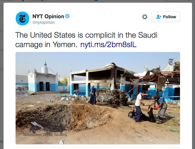 NYT admits Saudi bombing of Yemen could not continue without US support